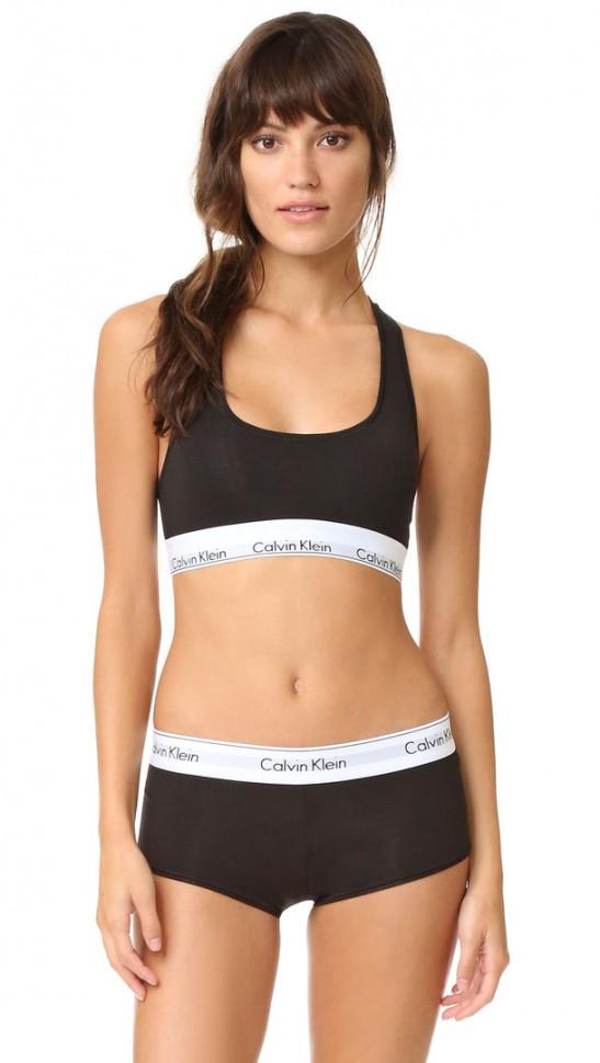 Женский комплект Calvin Klein черный: топ и шортики C11