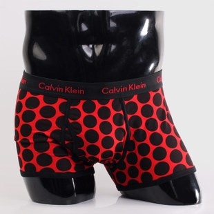 Трусы Calvin Klein 365 красные/черный горох A064